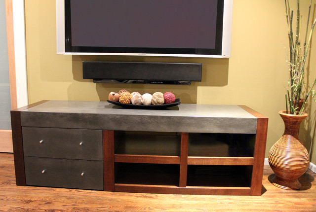 Concrete Media Console modern coffee tables