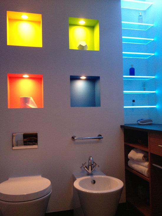 Site Built Back lit Glass Shelves - LED Bathroom & Shower Lighting -