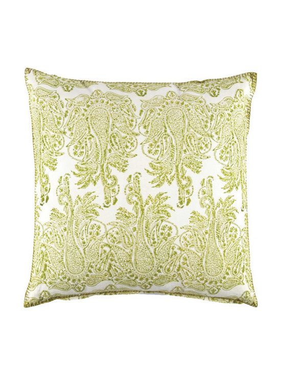 """John Robshaw - Lichen Dec Pillow design by John Robshaw. """"I printed these old blocks softly and unevenly in the workshop to get an antique quality to the prints. I see the prints on the move across the fabric.."""" - John Robsaw"""