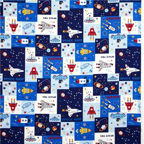 Kokka fabric for boys with spaceship rocket space kids decor for Space boy fabric
