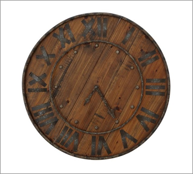 Rustic Wood Amp Iron Clock Traditional Clocks By