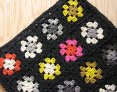 Crocheted Granny Square Pillow Cover in Black with Neon Yellow and Ho…