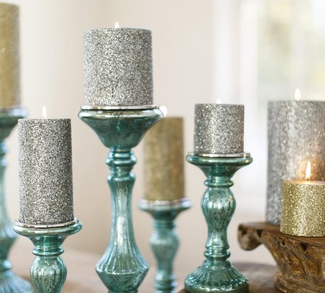 Blue Mercury Glass Pillar Candleholders contemporary-candleholders