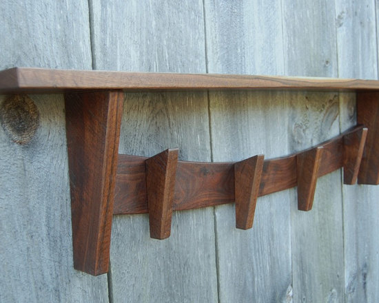 Walnut Coat Rack With Shelf, Rustic - Walnut coat rack with shelf. Solid, rustic appearance with natural oil finish topped with satin poly. Awesome, complex variations in color, grain and texture. Some original saw marks remain. The surface finish on the entire piece has been shaped using various edge tools by hand, enhancing the natural beauty in the wood. Truly a one of a kind piece.