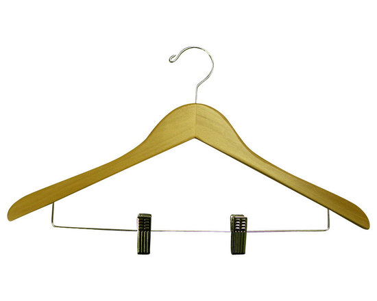 Proman Products - Proman Products Genesis Flat Suit Hanger with Wire Clips in Natural - Genesis flat suit hanger with wire clips natural, chrome hardware, 44.5Lx1.2Tcm, 50Pcs/Ctn