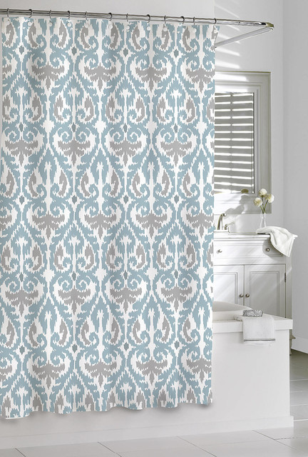 Bathroom Sets With Shower Curtain And Rugs Silver or Gray Shower Curtain