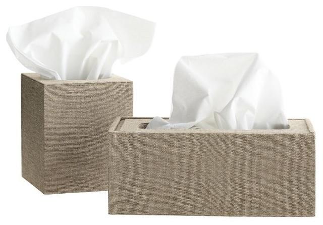 Chambray Tissue Box, Rectangle contemporary-tissue-box-holders
