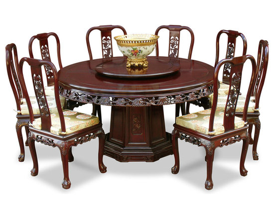 China Furniture and Arts - 60in Rosewood Queen Ann Grape Motif Round Dining Table with 8 Chairs - Completely handmade in solid rosewood by artisans in China, using the traditional joinery technique. This classic rosewood round dining table is laced with hand-carved grape vine design along the edge, eight matching chairs with tiger-paw feet complete the elegant look to any dining room. One removable lazy Susan is included for your convenience. Hand applied dark cherry finish.