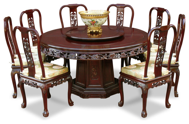 8 Chair Round Dining Table: 60in Rosewood Queen Ann Grape Motif Round Dining Table