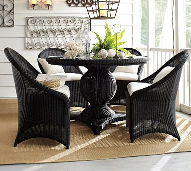 """Palmetto All-Weather Wicker Round Pedestal Dining Table Set, 48"""" diam., Black traditional-dining-tables"""
