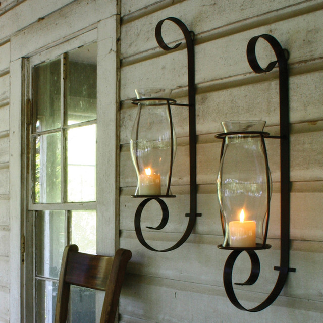 Flat Iron Wall Sconce With Glass Hurricane Traditional