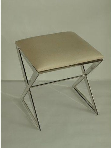 Worlds Away X Upholstered Stool in Nickel and White Ostrich traditional-upholstered-benches