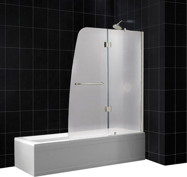 DreamLine SHDR-3148586-01-FR2 Aqua 48in Frameless Hinged Tub Door, Frosted 1/4in contemporary-showers