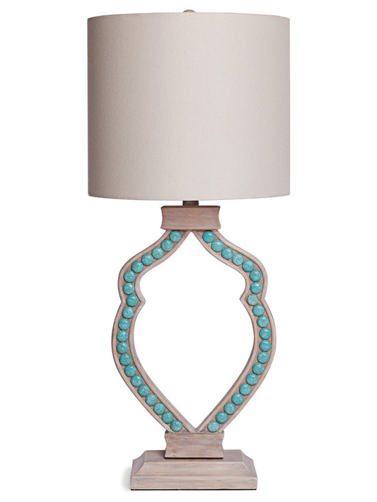 Cabochon Lamp in Turquoise - Cream magnesite stones inlayed in hand carved wood make this lamp a total stunner!