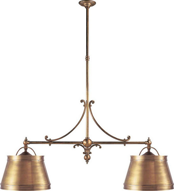 Double Sloane Street Shop Light with Metal Shades traditional-pendant-lighting