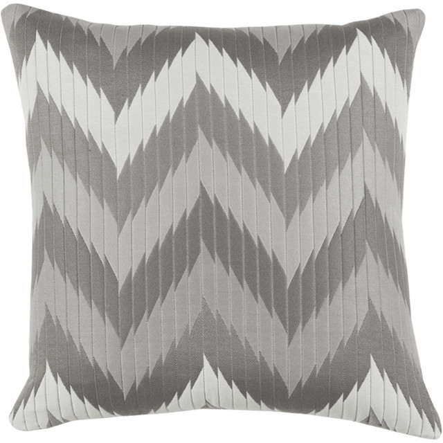 Lacefield Designs Quilted Chevron Gray Knife-Edge Throw Pillow contemporary-decorative-pillows