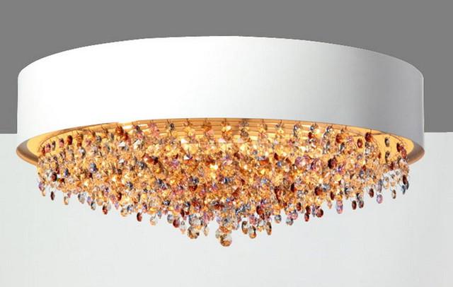 Modern Colorful Crystal Round White Metal Pendant Lighting ...