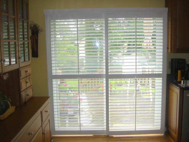 Plantation Shutters On A Sliding Glass Door Modern Detroit By