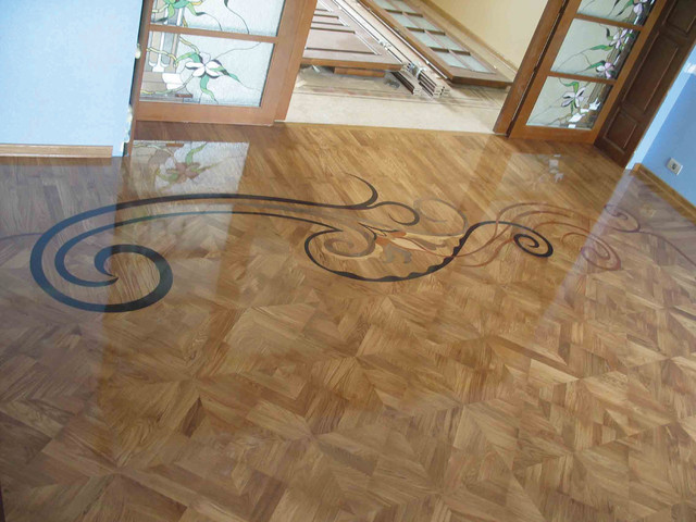 Free form wood inlay orchidea contemporary by czar for Inlaid wood floor designs