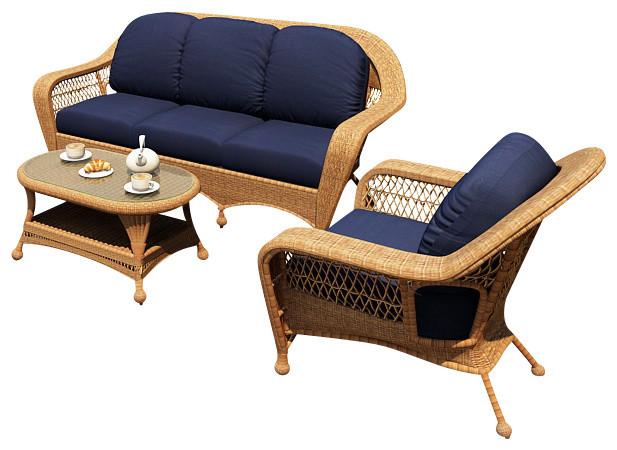 Catalina 3 Piece Outdoor Sofa Set Straw Wicker Navy Cushions Traditional