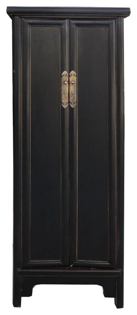 Chinese Black Lacquer Narrow Slim Cabinet contemporary-storage-units-and-cabinets