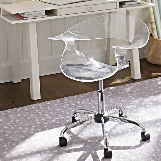 acrylic swivel chair office chairs other metro by pbteen