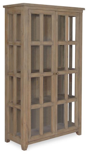 Coastal Solid Wood Display Cabinet rustic-storage-cabinets