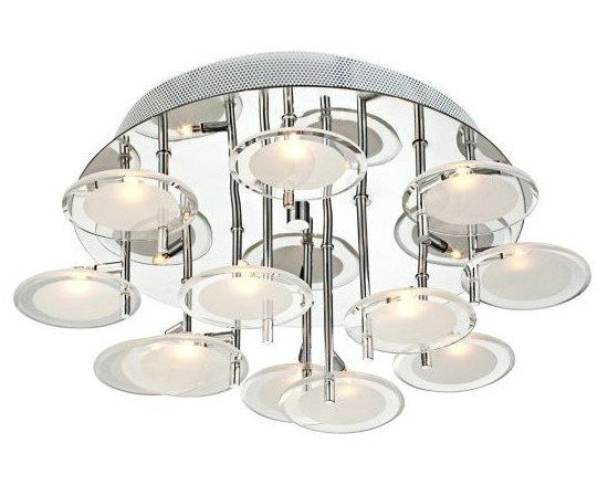 Moder Chrome Halogen Possini Euro Flushmount Ceiling Light -