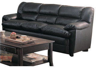Leather Sofa with Pillow Arms in Black - Transitional - Sofas - by