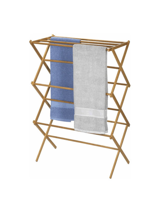 Bamboo Folding Clothes Drying Rack by Household Essentials -