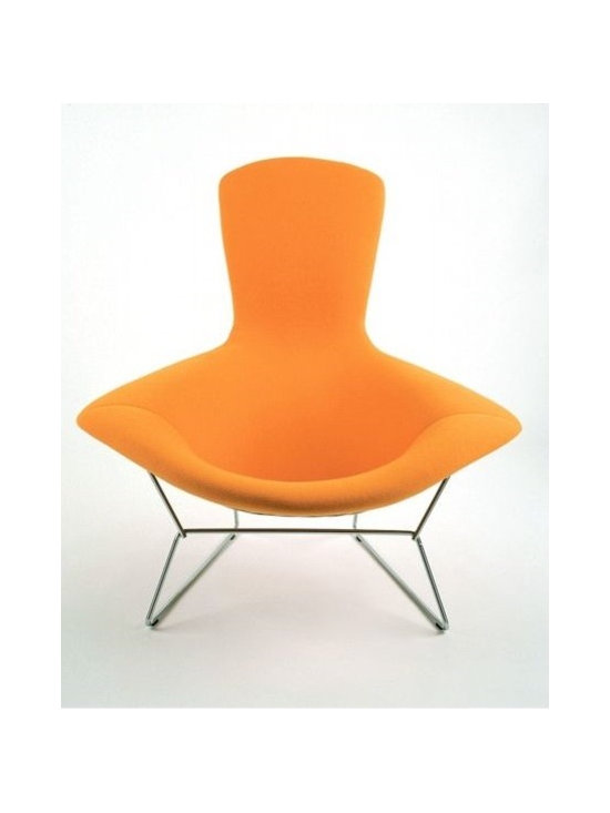 Bertoia Bird Chair with Full Cover - An iconic classic, the Bertoia Bird Chair was designed by Henry Bertoia for Knoll in 1952. This fully licensed and stamped version is available with in a wide variety of colorful covers, which are included in this price. A matching ottoman is sold separately.