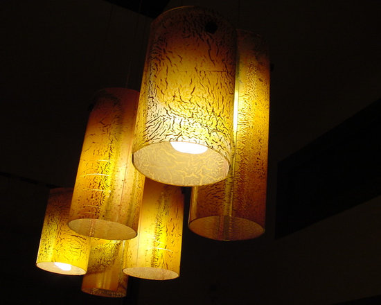 """Galilee - Our fused art glass in the """"Amber"""" color make a beautiful lighting fixture.."""