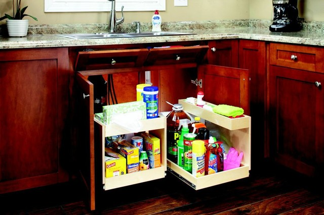 Slide Out Shelves with Risers contemporary-kitchen-drawer-organizers