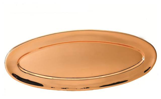 Heavy Gauge Oval Décor Copper Tray traditional-platters