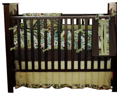 Paisley Splash in Lime Baby Crib Bedding Set 3-Piece Set contemporary-cribs