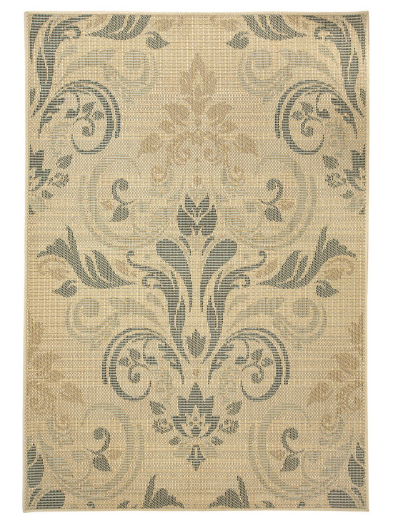 Terrace Damask rug in Straw - Wilton-woven for Indoor or Outdoor use, the Terrace Collection sets the standard for this category using seven colors - most indoor/outdoor rugs use two to three at most.