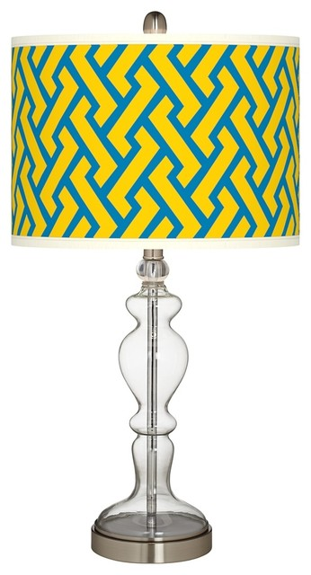 Yellow Brick Weave Apothecary Clear Glass Table Lamp contemporary-table-lamps