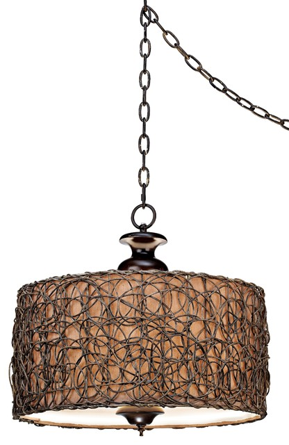 Natural Woven Swag Pendant Light contemporary-pendant-lighting
