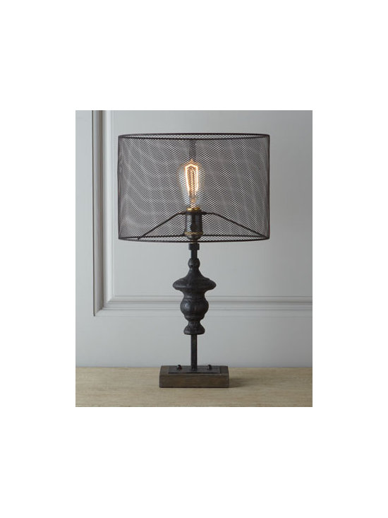 "Regina-Andrew Design - Regina-Andrew Design ""Venetian Finial"" Lamp - As much sculpture or conversation piece as lighting, this lamp features a finial as a base and a unique mesh screen shade to add not only illumination but also intriguing shadow play to the room. Made of iron and wood. Three-way switch on socket; uses..."