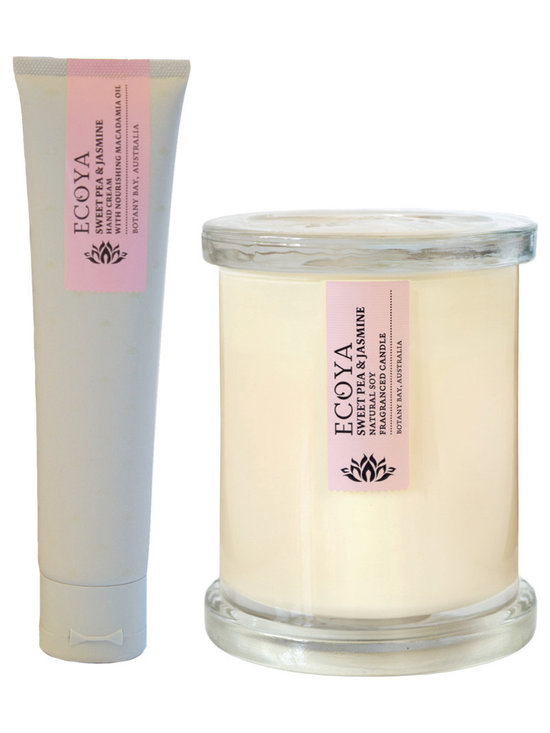 Sweet Pea & Jasmine Soy Candle & Lotion Set - A perfectly matched set of 2.5oz hand lotion and candles from Botany Bay, Australia in alight and refreshing blend of watermelon and cucumber, with a sweet hint of freesia. The natural soy candles are hand-poured in a contemporary white jar and the matched lotion is perfect for those on-the-go.