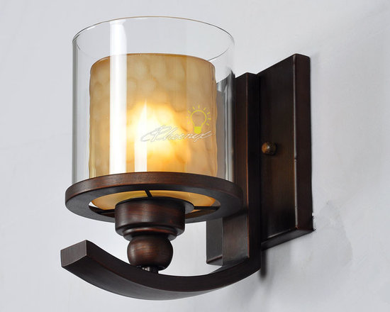 Iron and glass wall sconce in Brushed bronze finsh - size:W5.23'' X H8.46'