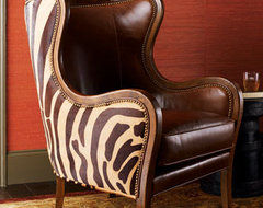 Massoud Chocolate Zebra Wing Chair traditional-living-room-chairs