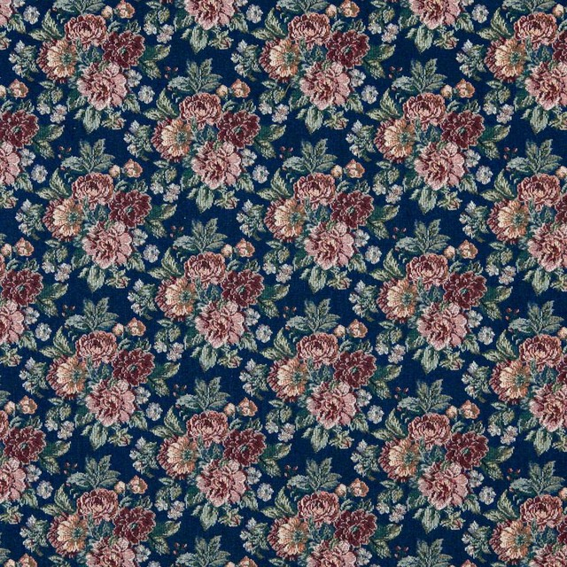 Navy Red Green And Orange Floral Tapestry Upholstery
