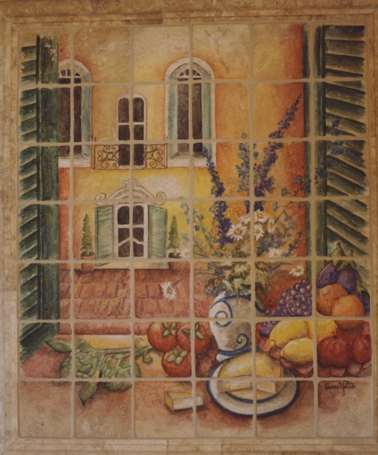 Italian Window Scene Mural mediterranean-artwork