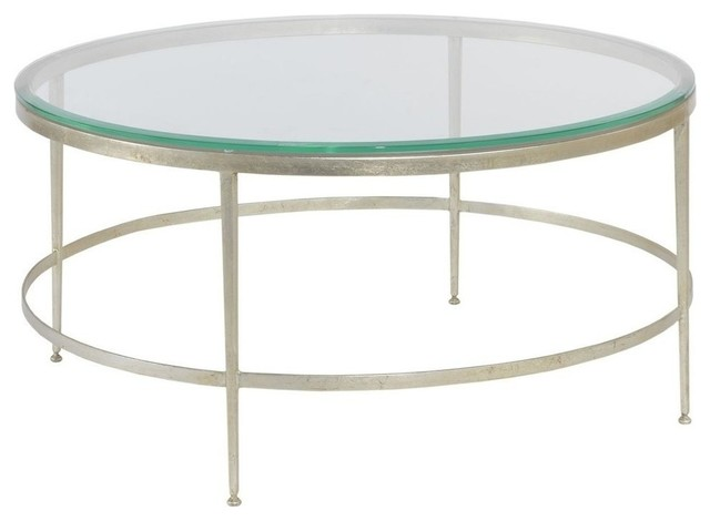 Modern Round Cocktail Table Beveled Glass Traditional Coffee Tables