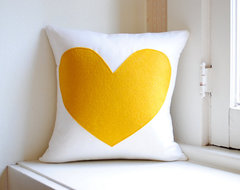 Heart Pillow Cover, White Linen and Yellow by Pillow Factory contemporary-decorative-pillows
