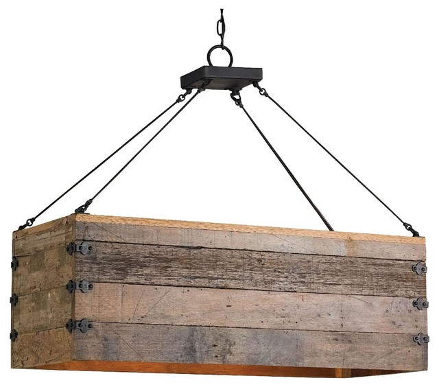 Kitchen Island Lighting Rustic: Reclaimed Wood Crate Chandelier