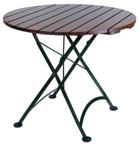 Furniture Designhouse Round European Cafe Folding Table - 32 in. traditional-outdoor-tables