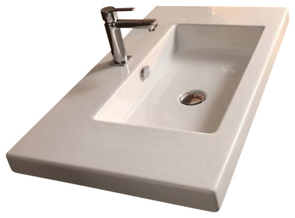 Wall Mounted Rectangular Sink : Rectangular White Ceramic Wall Mounted, Vessel, or Built-In Sink, One ...