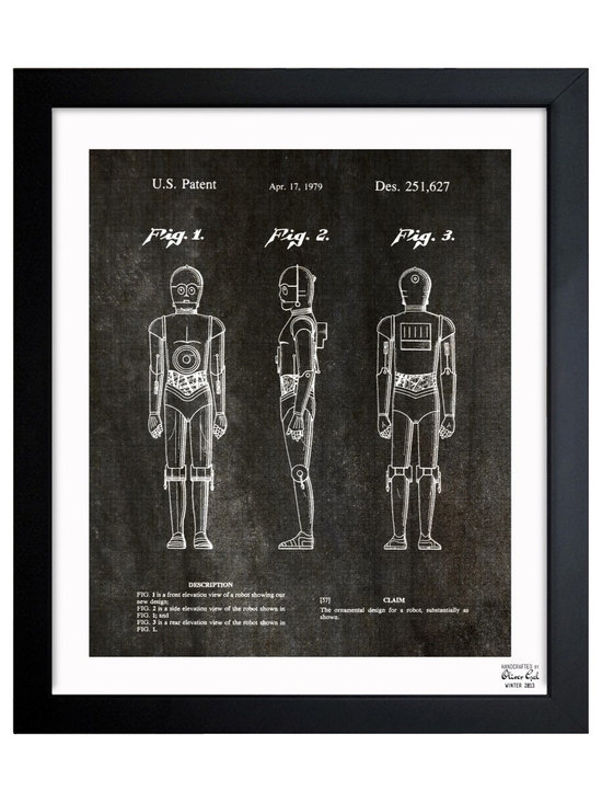 """The Oliver Gal Artist Co. - ''Robot 1979' Framed Art - Exclusive blueprints inspired by real vintage patent drawings & illustrations. Handcrafted in the Oliver Gal Artist Co. Studios in Miami, Florida. Produced on matte proofing paper and hand framed by professional framers in a 1.2"""" premium black wood frame. Perfect for any interior design project, gifts, office décor, or to add special value to one of your favorite collections."""
